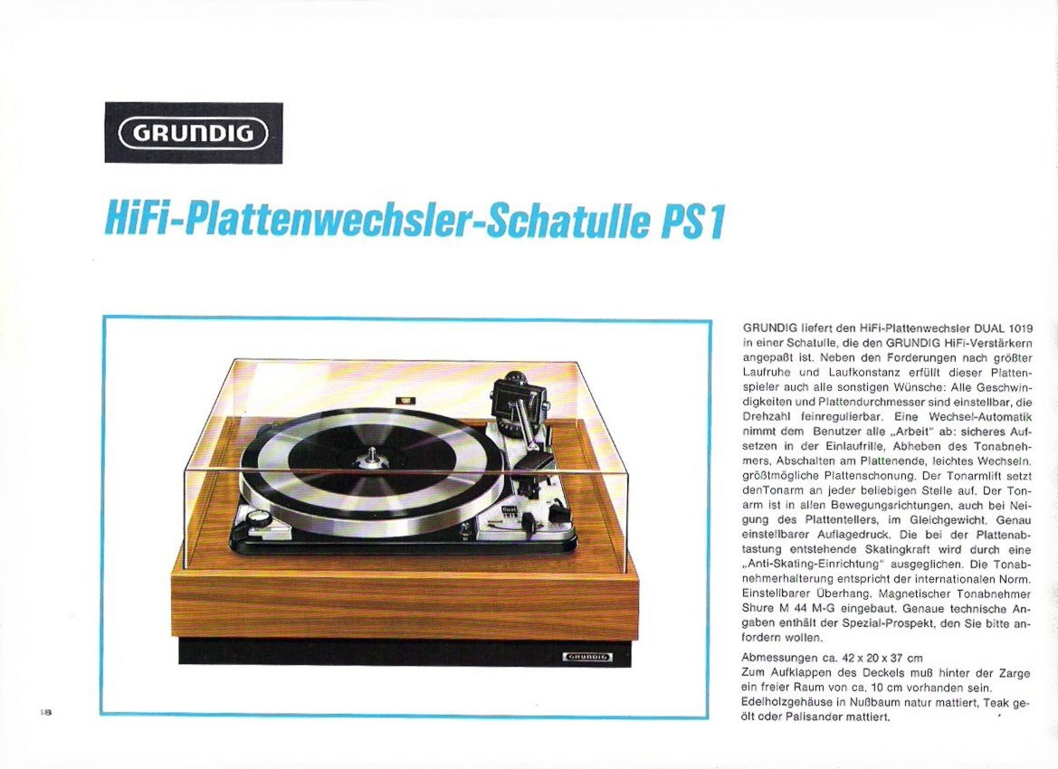GRUNDIG PS 1 CATALOGO 1967