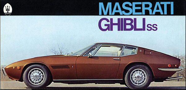 La filante linea della fiancata dalla brochure ufficiale della Maserati nel 1970