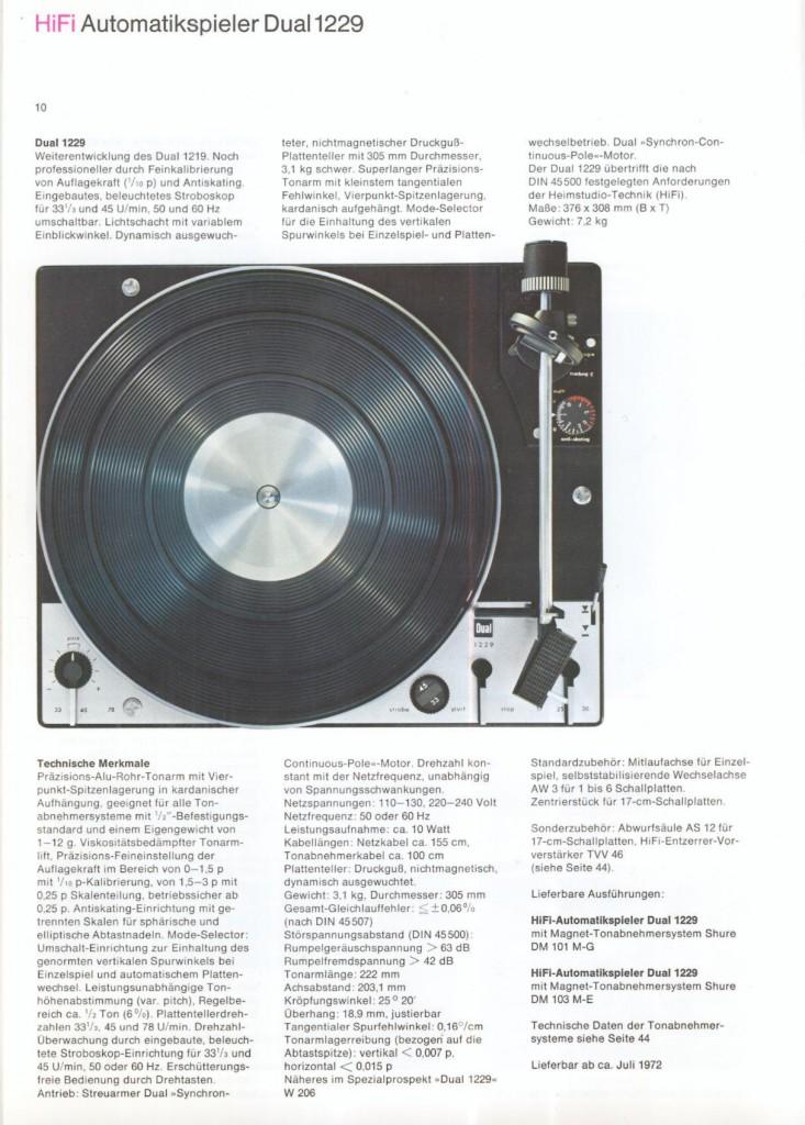 Dati tecnici Dual 1229 da catalogo 1973 - Alla voce Signalkabel si legge 1 mt.