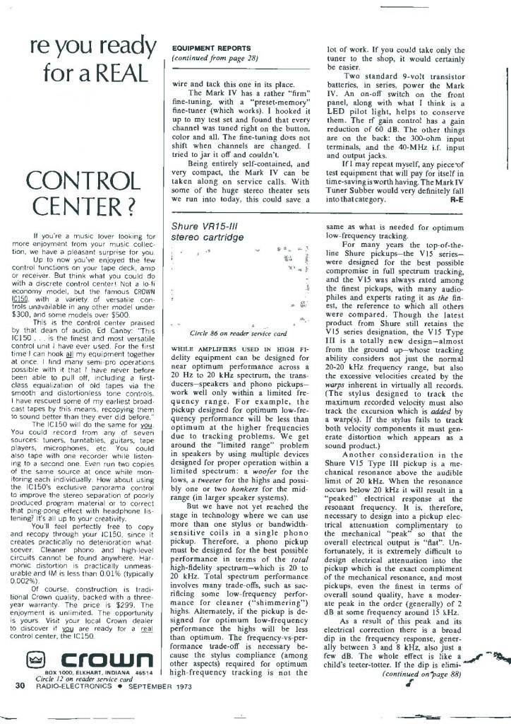 Test V15 III° Pag. 1 da Radio Electronics Settembre 1973