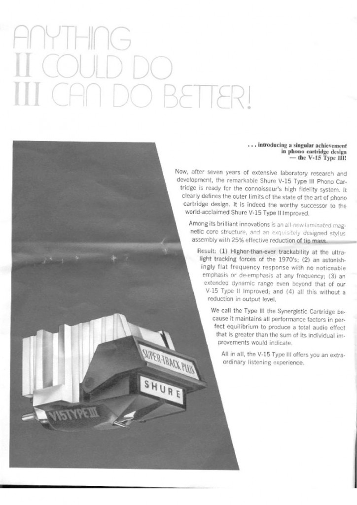 La pagina sulla V15 III° nel catalogo Shure 1973